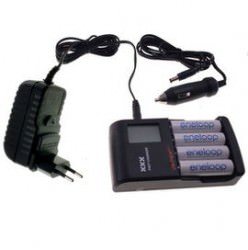 VapexTech Smart Fast Charger for AA (R3) / AAA (R6) NiMH Batteries with LCD, USB Charger and Car Adapter