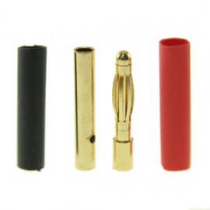 Pozłacany Wtyk złącze RC Gold Bullet 2mm - para (męski + żeński)