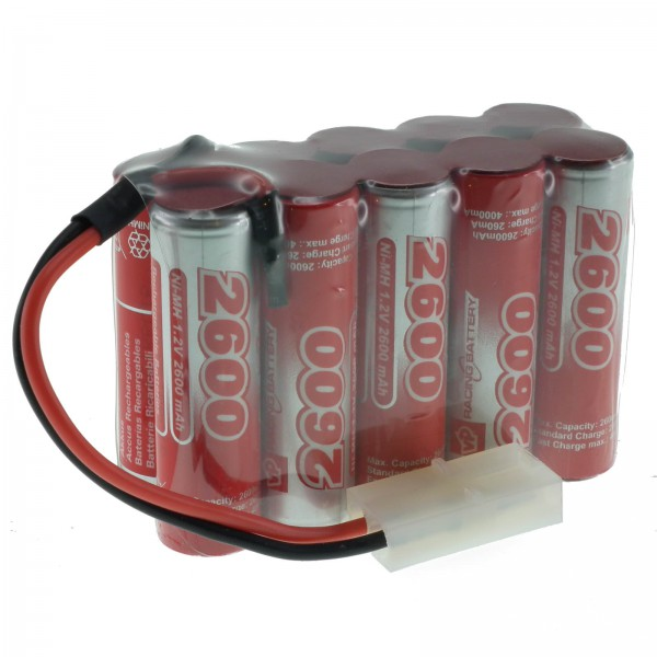 12V 2600mAh NiMH AA (5x2) RC Rechargeable Battery Pack VapexTech